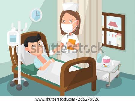 The nurse taking care of patient in the ward of hospital .illustration, vector - stock vector