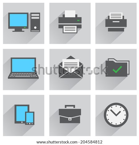 The office icon set, computer printer watch tablet smartphone folder mail - stock vector