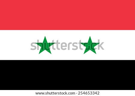 The official flag of the Syrian Arab Republic in both color and dimensions, - stock vector