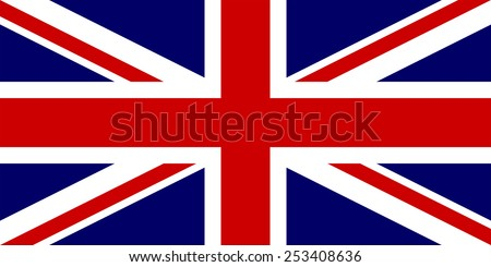 The official flag of the United Kingdom of Great Britain in both sze and color. Also known as the Union Jack or Union Flag - stock vector