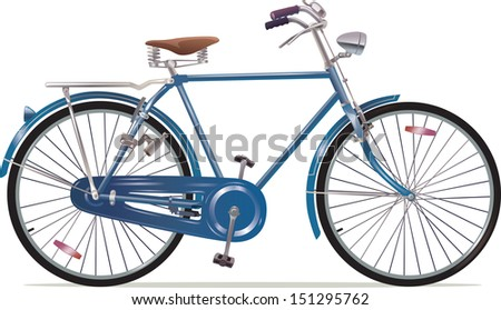 The old blue classic bicycle. This is the great example of an old retro bikes. Editable vector EPS v.10 - stock vector