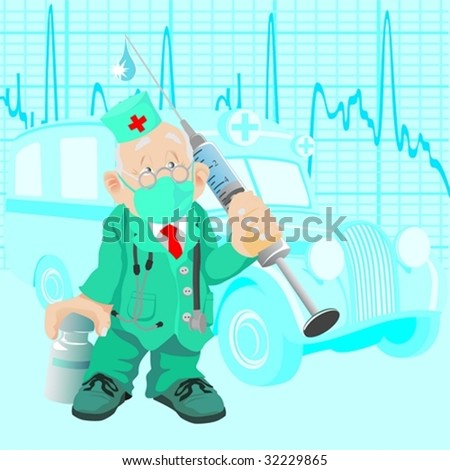 The old doctor with a medicine and a syringe, against old ambulance car - stock vector