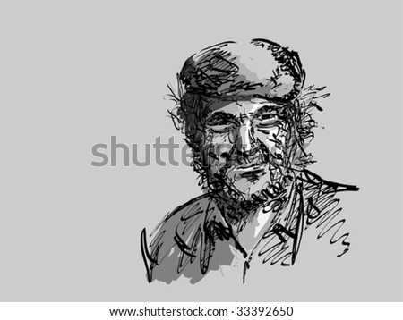 the old man - stock vector
