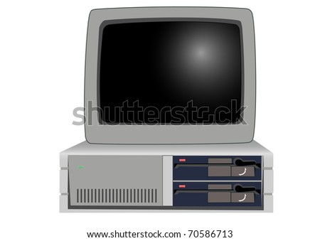 The old personal computer on a white background - stock vector