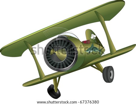 The old plane biplane - stock vector
