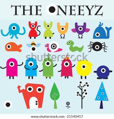 The Oneeyz vector carachter design collection - stock vector