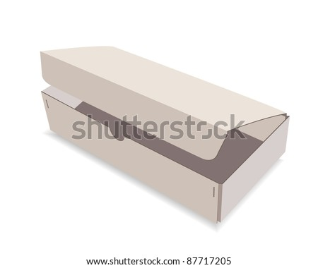 The opened paper box on a white background - stock vector