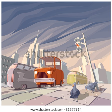 The orange cartoon vintage car in the middle of the main street in a big city. There are two pigeons on a pavement. - stock vector