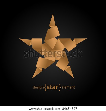 The Origami Star from old paper on black background - stock vector