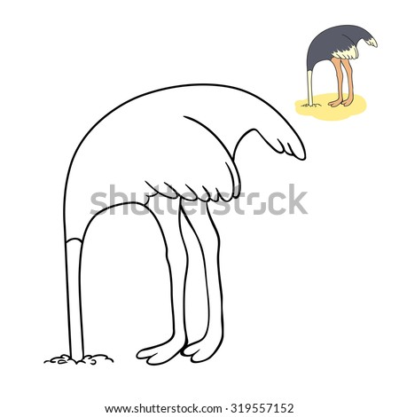 The ostrich has buried a head in sand. coloring book , a vector on a white background