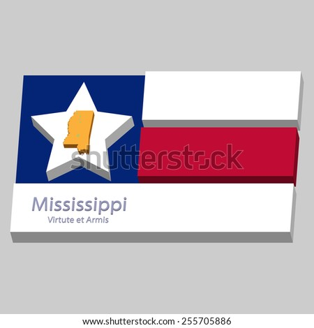 the outline of the state of Mississippi and its motto is depicted on the background of a small part of the flag of the United States of America - stock vector
