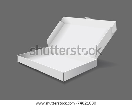 The packaging box on grey background is shown in the picture. - stock vector
