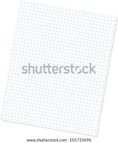 The page is pulled out from a writing-book, isolated on the white - stock vector