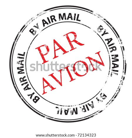 the par avion grunge stamp vector illustration - stock vector