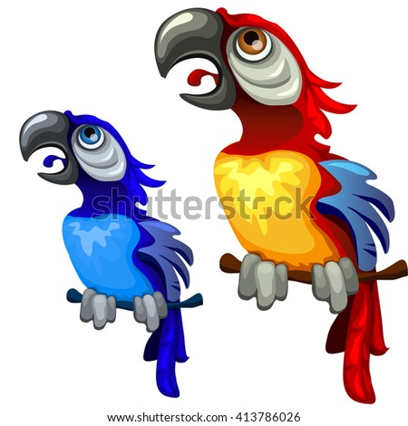 The parrot screams. Vector illustration. - stock vector