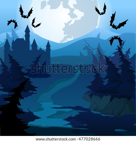 The path through the enchanted forest at night. Vector illustration.