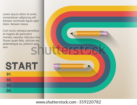 The path to success retro graphic design. Stripes and lines in harmony. - stock vector