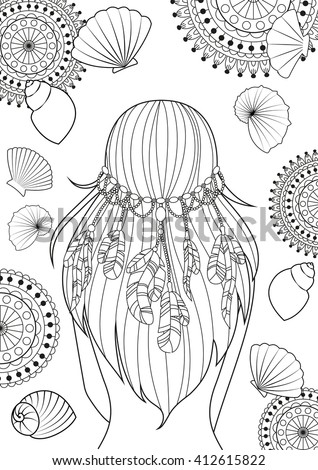 The pattern for coloring book for adults, A4 size. Girl with feathers on her heads and shells. Modern linear art. Vector. - stock vector