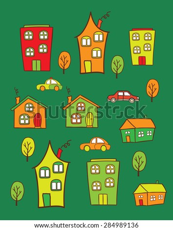 The pattern of colored houses. It can be used as decoration for fabrics, wallpaper,  variety of goods, items or for design and creativity. Set house handmade