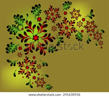 The pattern of red flowers and leaves. EPS10 vector illustration. - stock vector