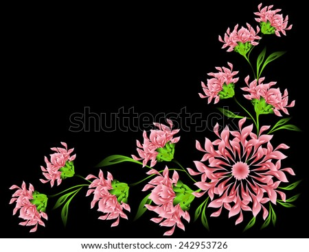 The pattern of red flowers and leaves on black backdrop. EPS10 vector illustration. - stock vector