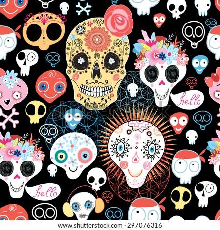 The pattern of skulls beautiful vector illustration - stock vector