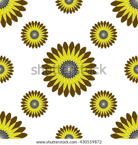 The pattern of the graphic sunflower
