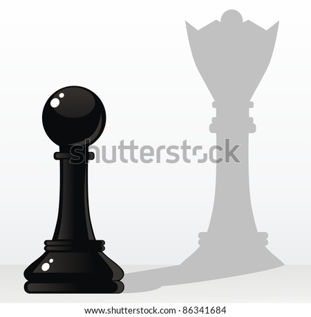 The pawn creates a shade in the form of the queen - stock vector