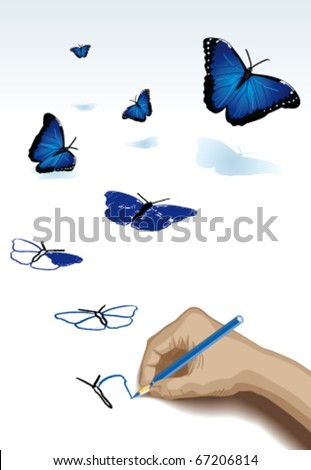The pencil drawing blue butterflies - stock vector