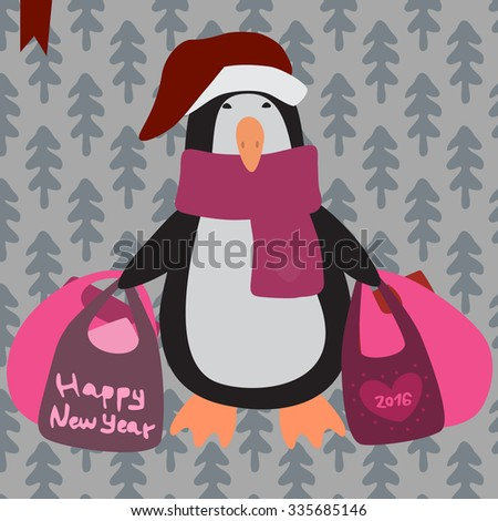 The Penguin in Christmas. - stock vector