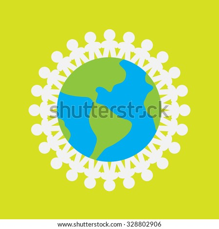 The people are holding  hands around the Earth . Vector logo eco icon illustration isolated element - stock vector