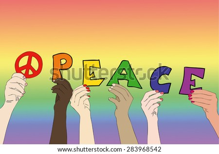 The People of Peace - Illustration symbolic representative the hands of persons of different races who write the word Peace - stock vector