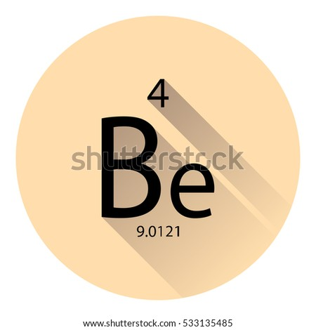 Periodic table element beryllium basic properties stock vector the periodic table element beryllium with the basic properties flat style with long shadow urtaz