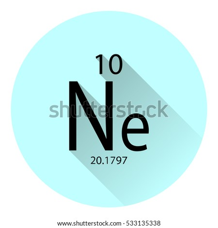 the periodic table element neon with the basic properties flat style with long shadow - Periodic Table Of Elements Neon