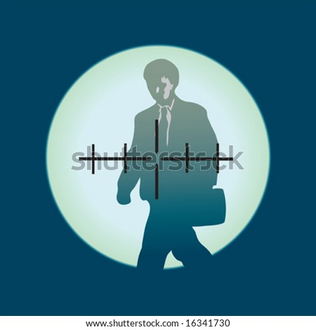 the person is visible through a sniper sight (vector) - stock vector