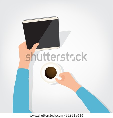 The person using the digital tablet ipad style blank coffee - stock vector