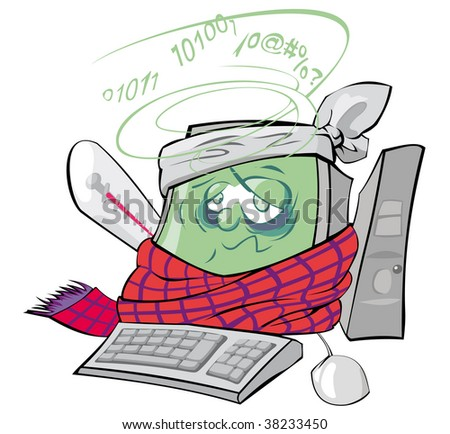 The personal computer has caught a virus - stock vector