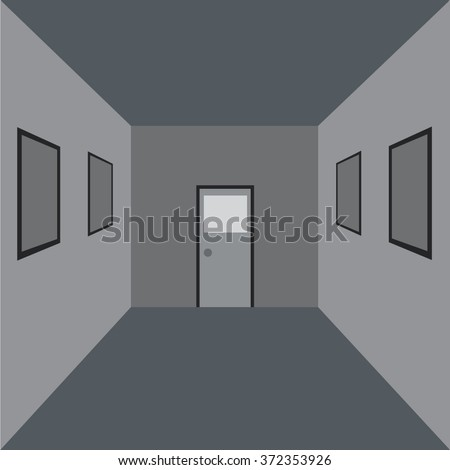 The perspective of the room with flat design