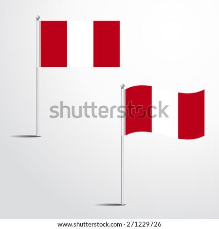 The Peru flag normal and waving flag set   abstract flag vector eps 10 - stock vector