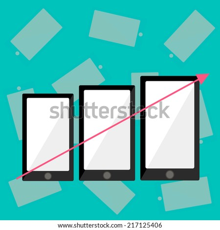 The phone size is increased from small to large. Vector illustration.