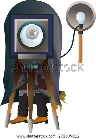 the photographer looks through the lens - stock vector
