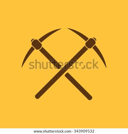 The pick icon. Pickax symbol. Flat Vector illustration - stock vector