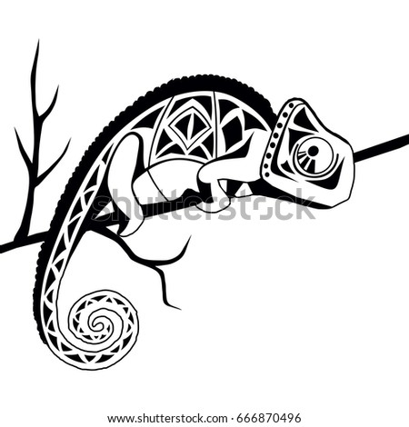 Freehand Sketch For Adult Anti Stress Coloring Book Page The Picture Is Black And White Lyzard Chameleon In Tribal Style On Background