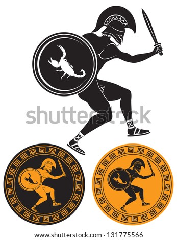 The picture shows a gladiator - stock vector