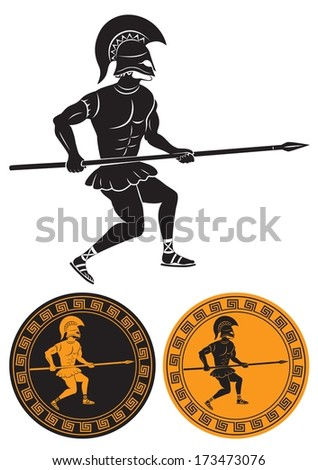The picture shows a hoplite with a spear - stock vector