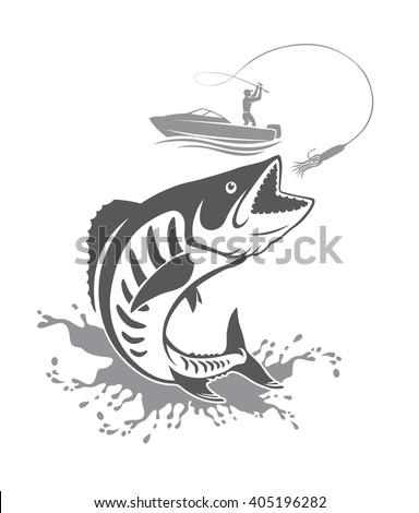 The picture shows the king mackerel - stock vector