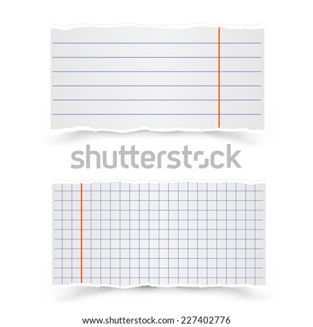 The pieces in the strip and in the cage of school notebooks on a gray background - stock vector