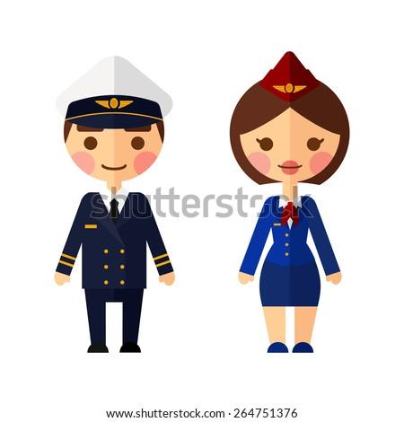 The pilot and flight attendants vector set. - stock vector