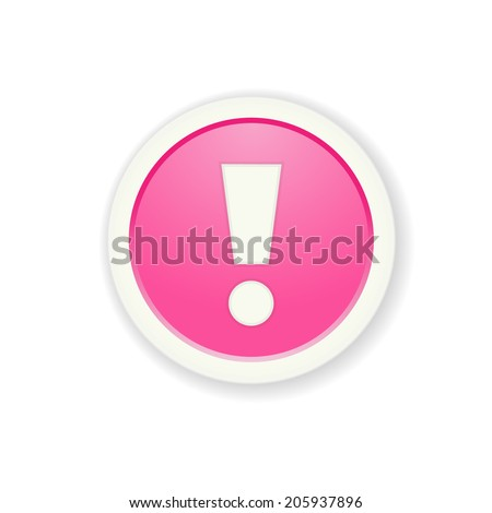 The pink glossy button with exclamation mark / the exclamation mark button / the exclamation mark - stock vector