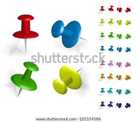 The pins of various colors and positions on a white background with gray shadows. - stock vector